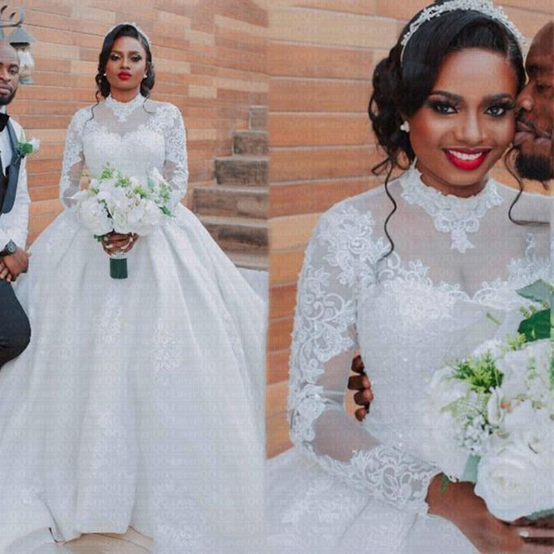 جديد الأفريقية الكرة ثوب الزفاف 2021 طويلة الأكمام العربية عالية الرقبة فساتين الزفاف