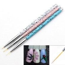 3 pinceau stylo Kolinsky Super Fine pointe peinture dessin acrylique Nail Art brosse Set Liner stylos