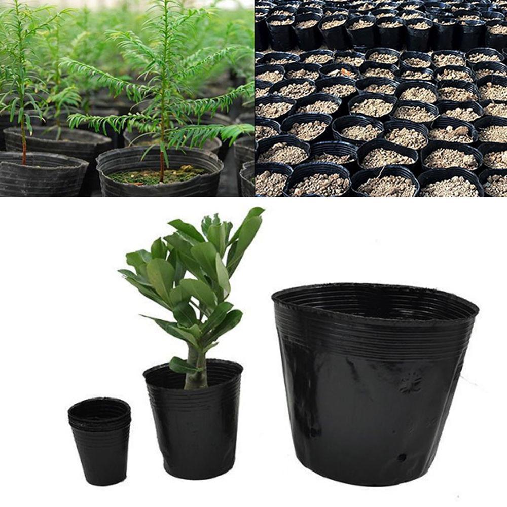 Купить с кэшбэком 100PCS Flowerpots Plastic Plant Seeds Grow Flower Plant Pot Nursery Flowerpot Seeds Planter Containers Set Raising Bag Garden Su