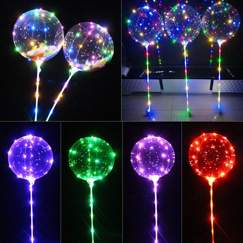 Светящийся светодиодный БОБО воздушный шар с палочками гелиевый прозрачный шар Свадебные украшения на день рождения детский прозрачный СВЕТОДИОДНЫЙ шарик