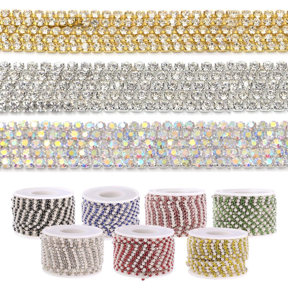 Cadena de perlas de diamantes de imitación brillantes de 1M/10M para coser en la ropa, bolsa, collar, accesorios de ropa DIY, cadena de decoración
