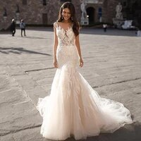 eightree mermaid wedding dresses lace appliques bridal dress backless trumpet lace tulle wedding gowns plus size robe de mariee