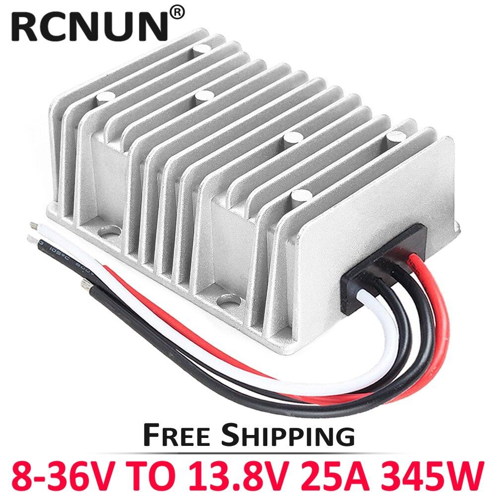 RCNUN DC 8-40V a DC 12V 13,8 V 1A 3A 6A 10A 15A 20A 25A buck-boost convertidor estabilizador de voltaje regulador CE RoHS para coches Solar