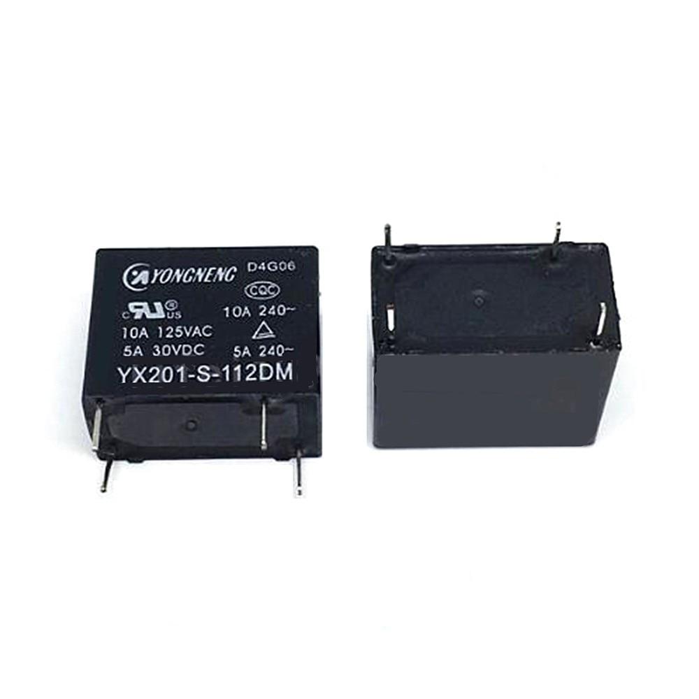 10PCS/LOT 100%Original New Relay YX201-S-112DM 12VDC YX201-S-124DM 24VDC YX201 S 112DM 12V 4PIN 10A DC12V 24V