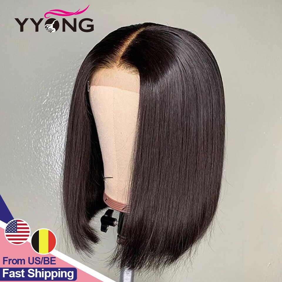 4x4 Lace Closure Wigs Brazilian Straight Short Bob Wig Remy Lace Closure Wig For Black Women Low Ratio Real Human Hair 120%