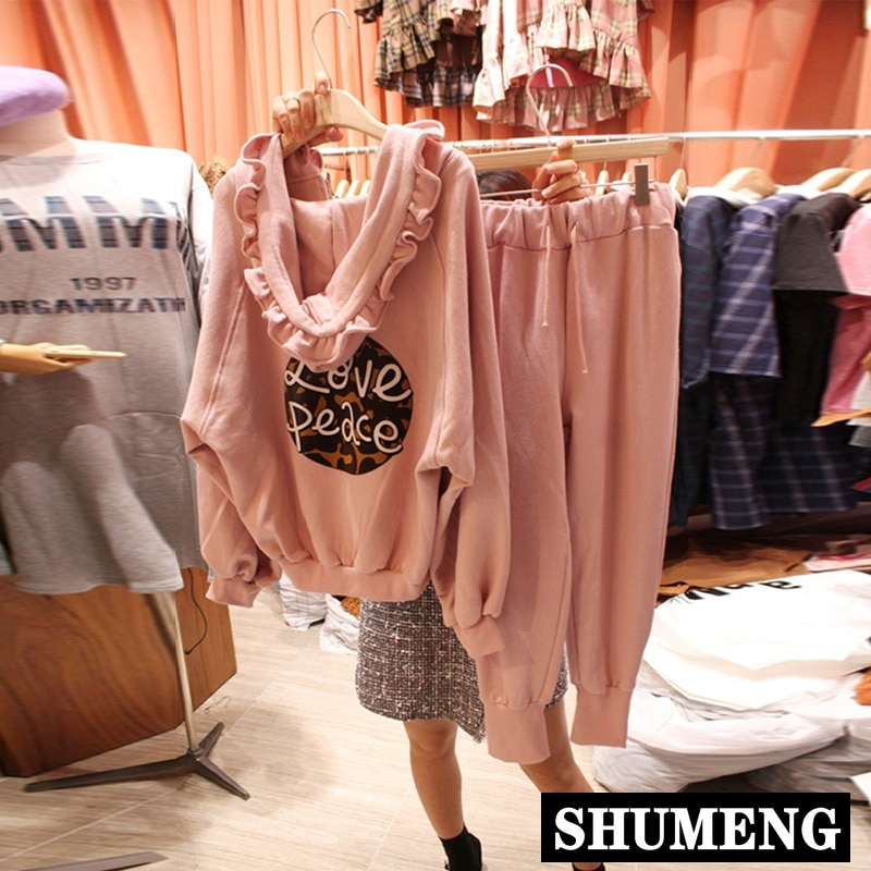2020 الربيع والخريف طويلة الأكمام فضفاضة مقنعين البلوز Sweatpants قطعتين مجموعة النساء رياضية هوديي مجموعة الوردي