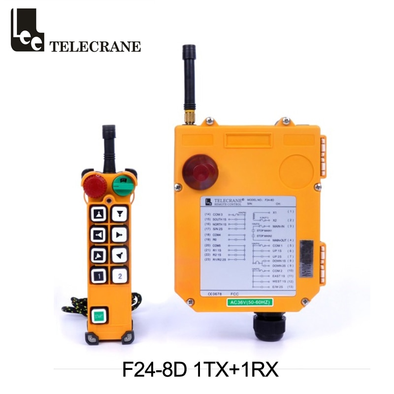 Telecrane F24-8D 2 الخطوات 8 مفاتيح لاسلكية راديو الصناعية رافعة تحكم عن بعد ل رافعة علوية يرفعون وتسليم المعدات