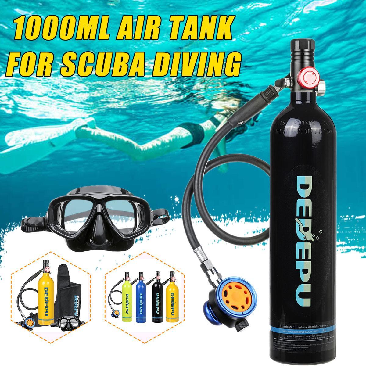 Портативный резервуар для дайвинга с кислородным цилиндром, 6 стилей, 1 л, дыхательный клапан, комплект снаряжения для подводного плавания