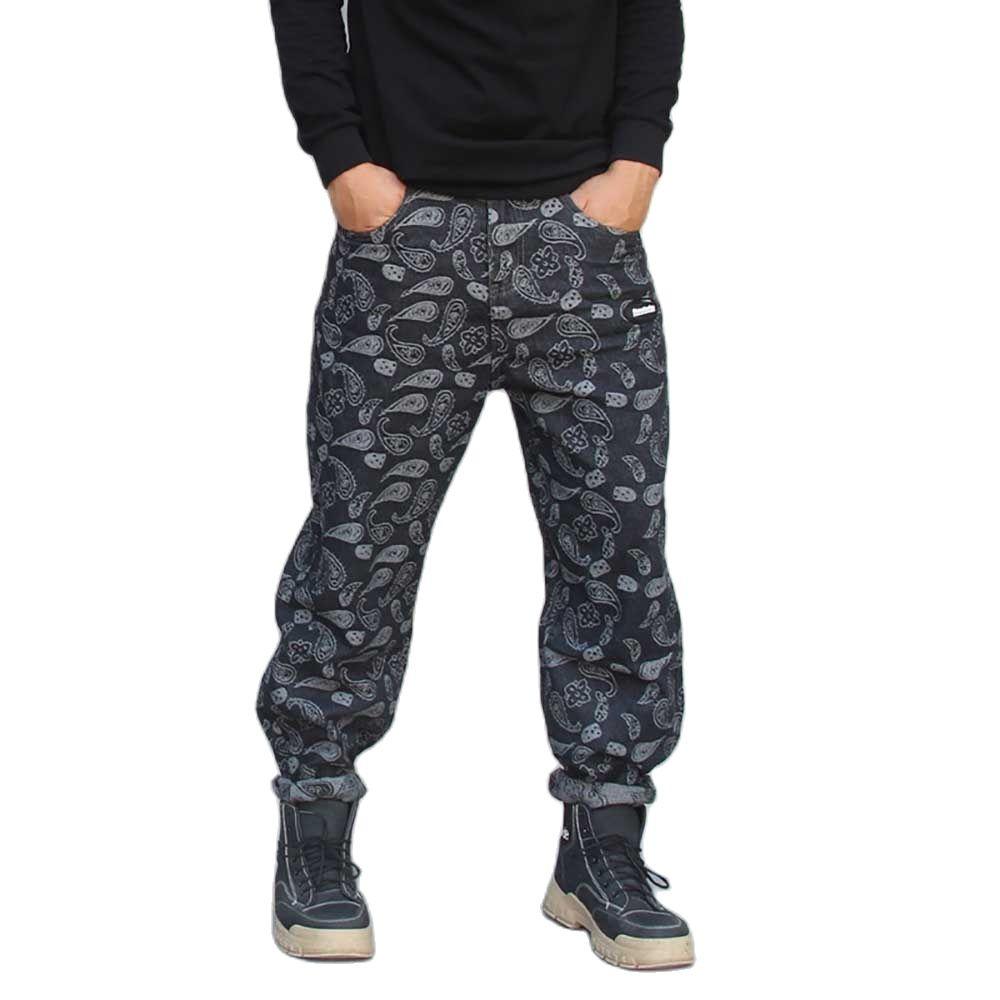 Новые модные мужские повседневные джинсы, прямые Свободные мешковатые джоггеры, джинсовые брюки, черные брюки с вышивкой, уличная одежда, д...