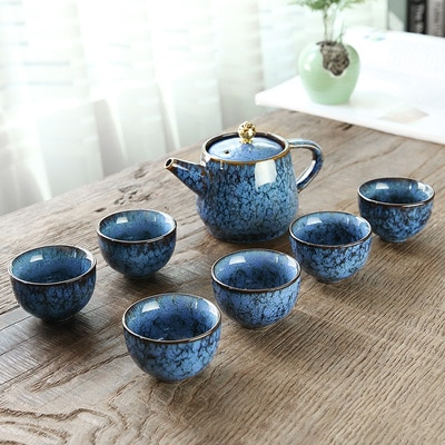 طقم شاي على الطريقة اليابانية مكون من 6 أشخاص ، طقم شاي أسود على الطراز الياباني للمنزل والمكتب ، فنجان شاي الكونغ فو ، طقم شاي يدوي