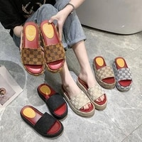 summer womens slippers wear thick bottom casual slippers 2021 new fashion all matching internet hot roman style shoes