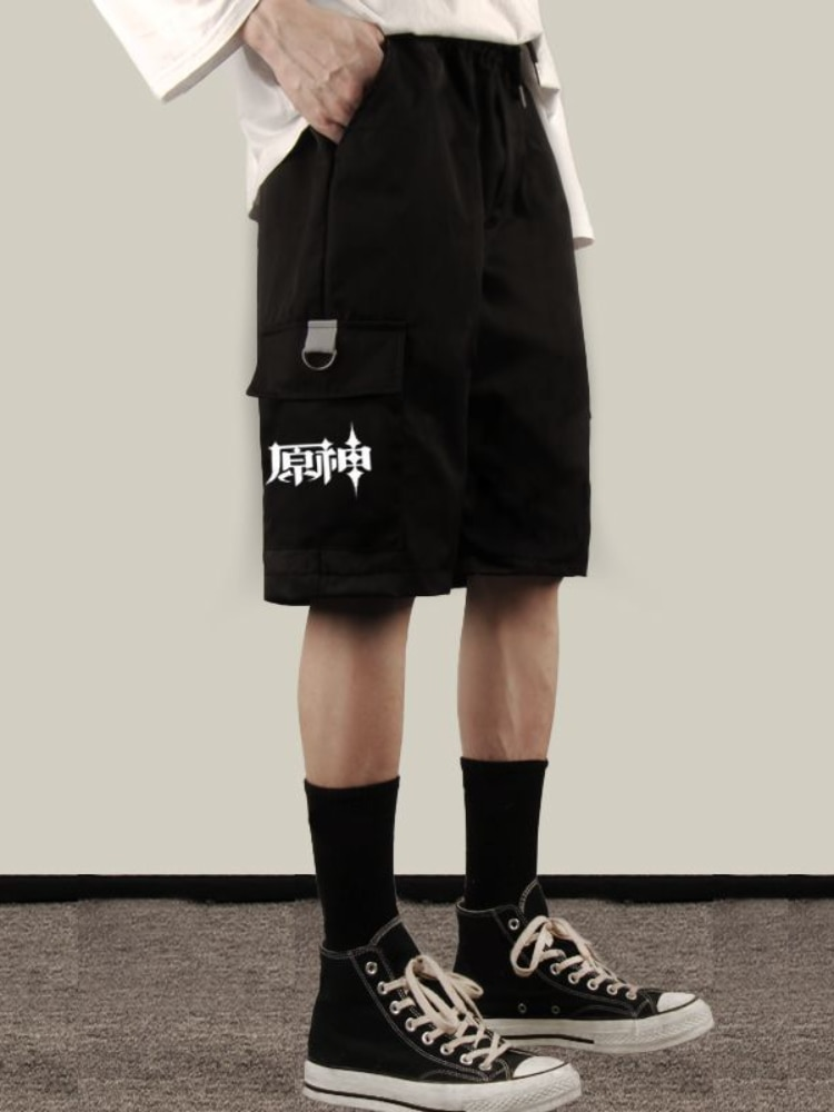 The Original God Surrounding Anime Can Be Carved Fischer Impression Short Pants Male and Female Students Tooling Casual