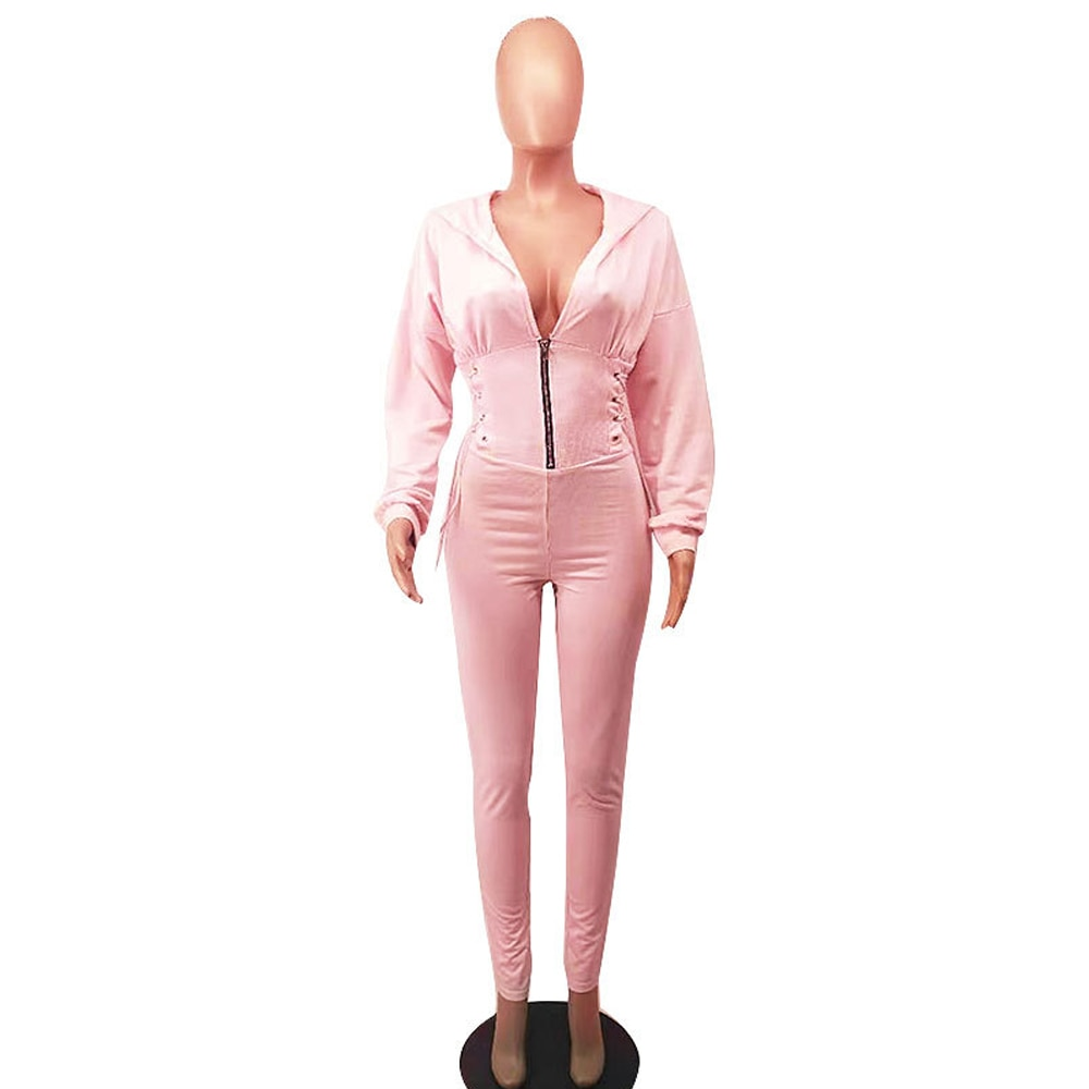 Bulk Lots Wholesale Items Sportswear One Piece Slim Jumpsuit Early Autumn Hooded Long Sleeve Overall Casual Waist Shape Catsuits enlarge