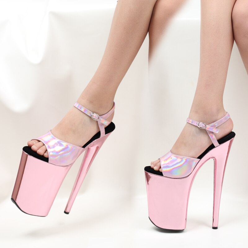 Tacón de 9 pulgadas, sandalias con correa de tobillo cromadas doradas y rosas, zapatos de tacón alto sexis con plataforma de baile en barra