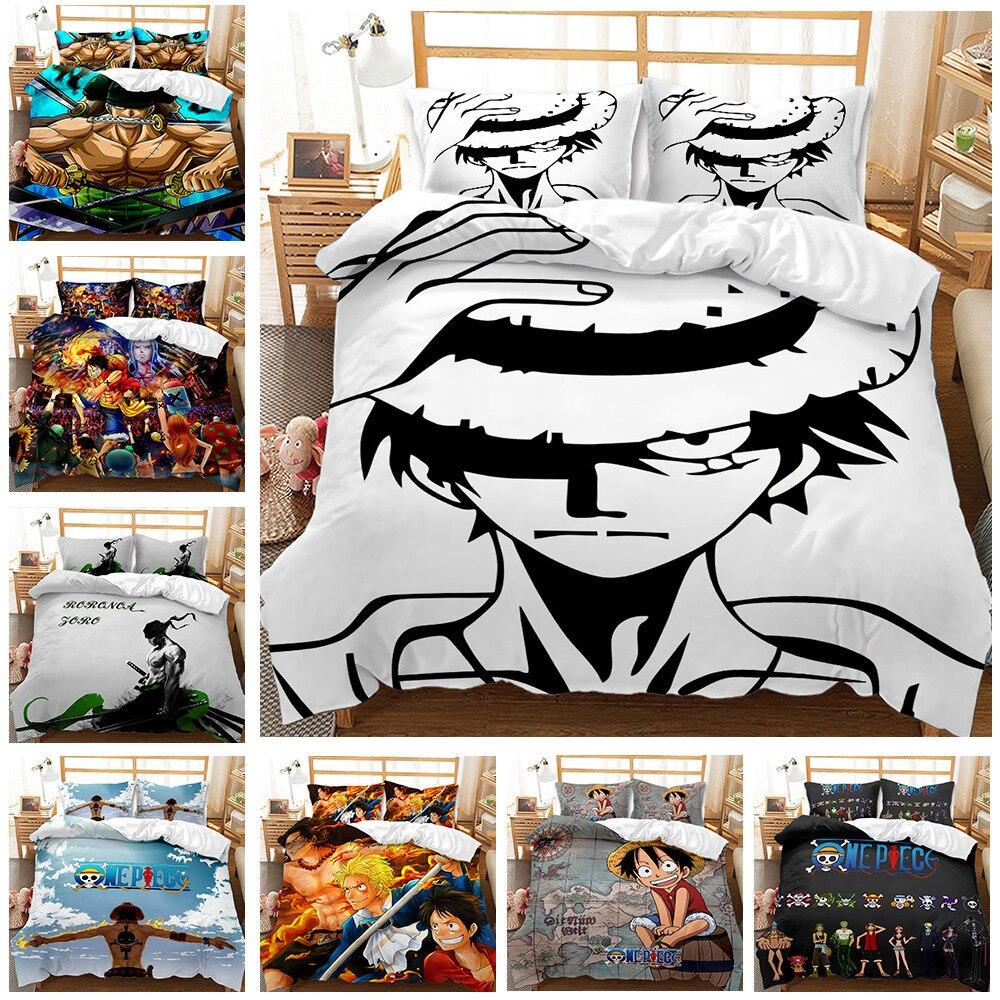 اليابان أنيمي قطعة واحدة يطبع حاف الغطاء 3 قطعة طقم سرير لوفي غطاء لحاف الملكة الملك الحجم المعزي غطاء الرسوم المتحركة المفارش