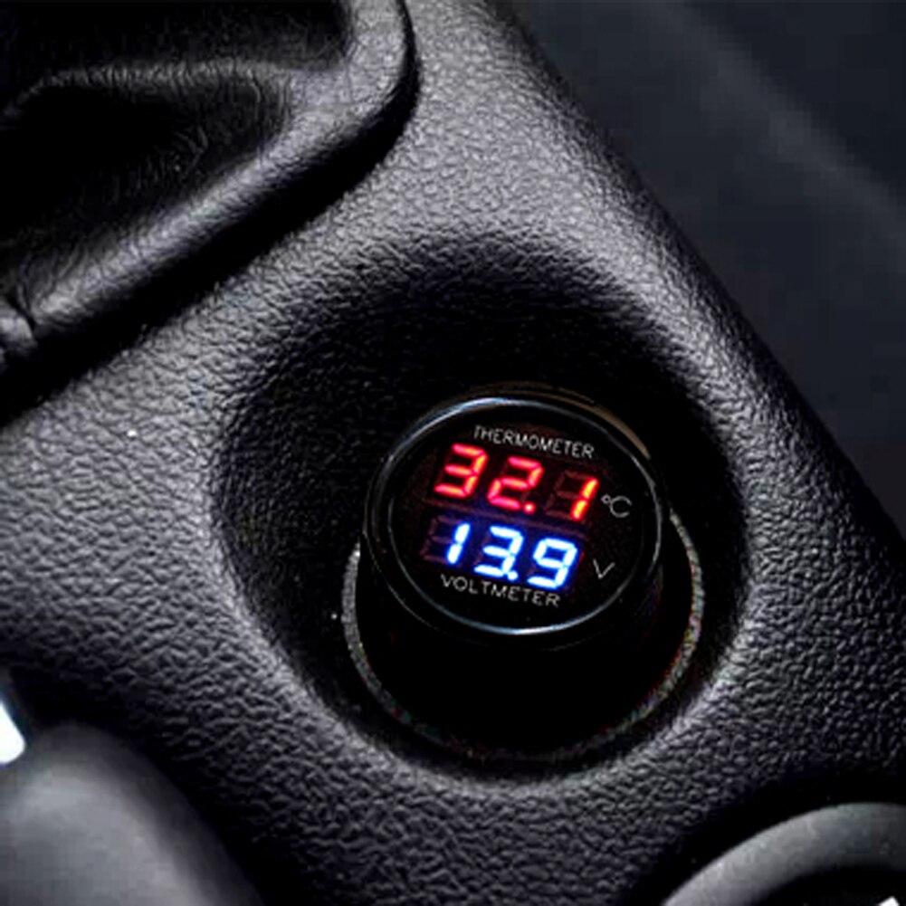 2 em 1 carro auto 12v termômetro voltímetro universal display duplo led digital termômetro voltímetro acessórios do carro