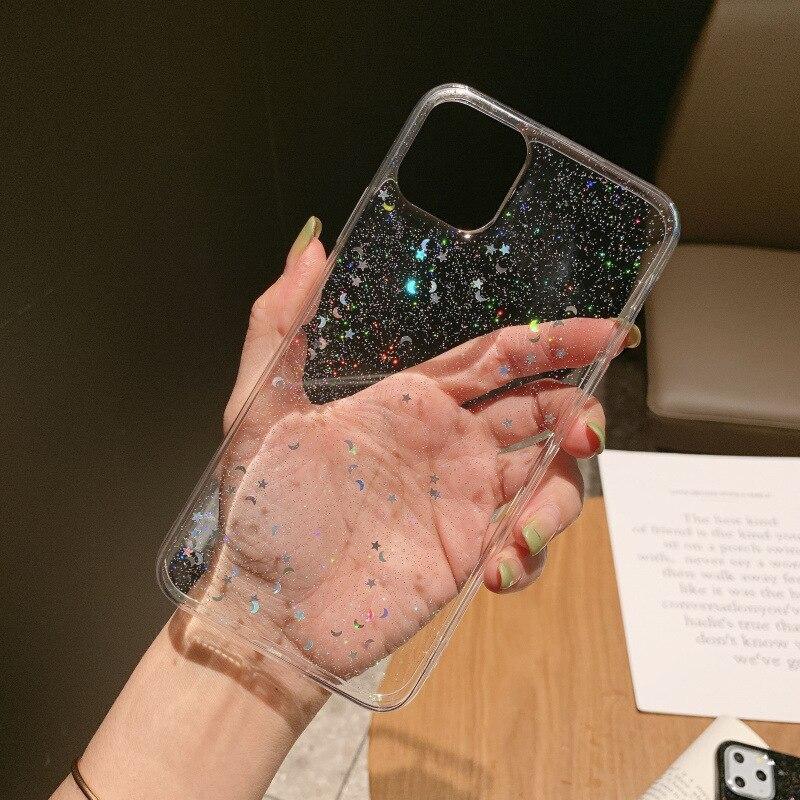 Lujosa funda de teléfono de estrella brillante para iPhone 6 6s 7 8 Plus XS MAX, funda de TPU suave transparente ultrafina para iPhone 11 Pro MAX XR X