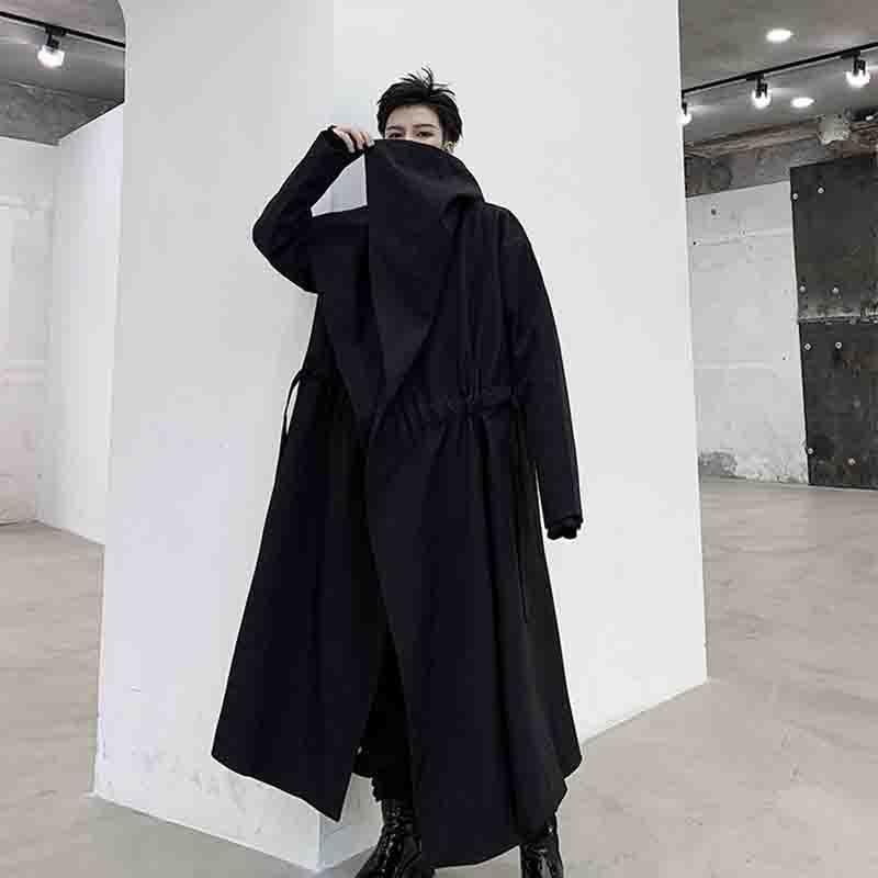 2020 الرجال الظلام الأقلية التلبيب الكبير ياماموتو سترة واقية معطف غير رسمي بايونير طويل الرباط معطف شخصية