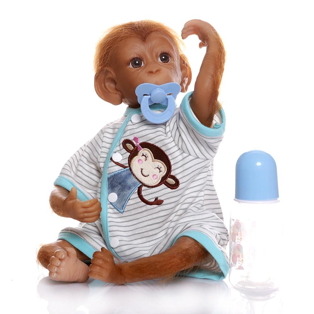 Neue Stil 19 zoll Silikon Affe Baby Puppe Spielzeug Tuch Körper 45 cm Realistische orang-utans Reborn Puppen Cosplay Affen Kinder geschenk