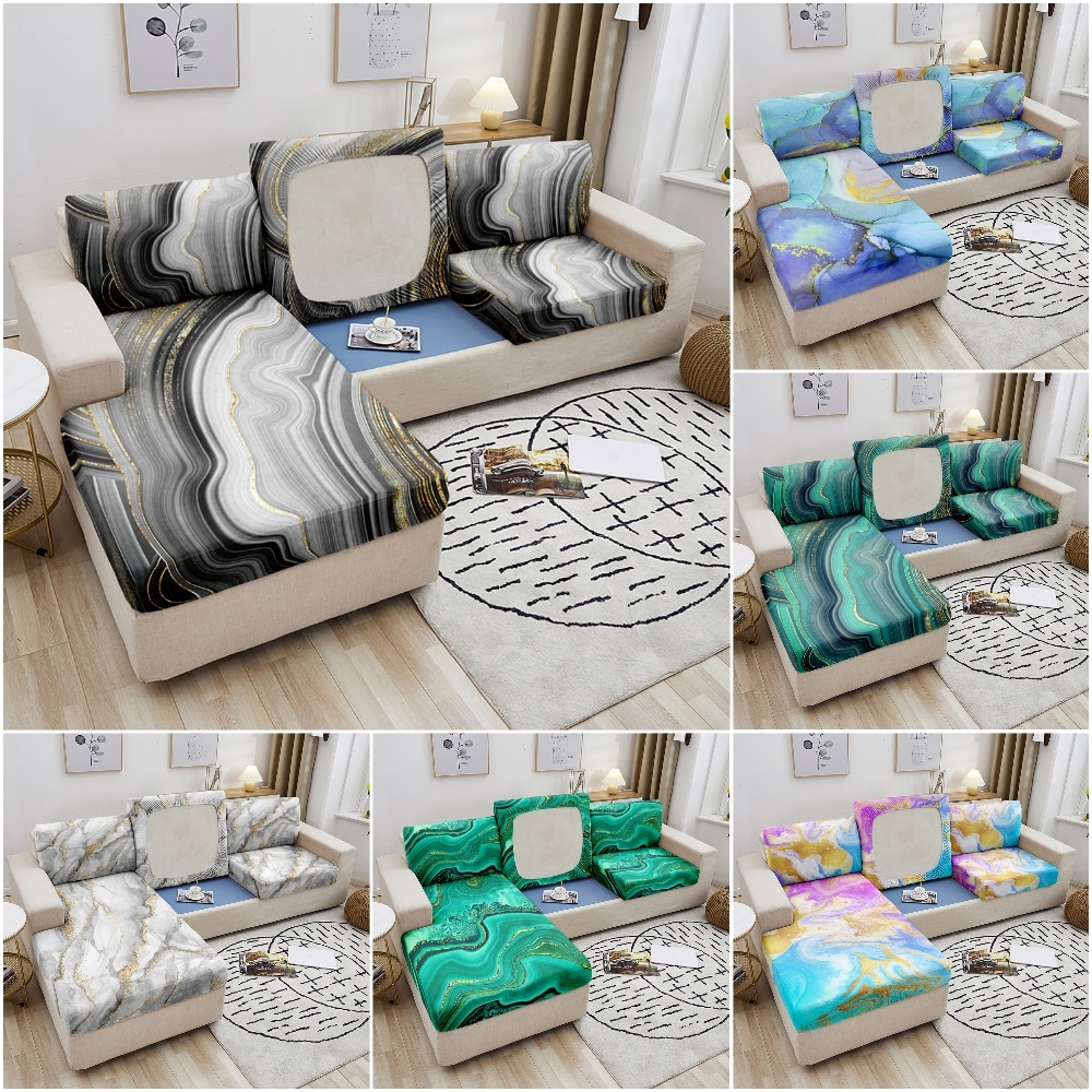 Роскошные мраморные Чехлы для диванных подушек для гостиной, эластичные Защитные чехлы для мебели на диван, эластичные чехлы для диванов