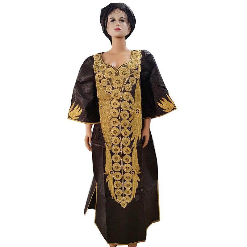 Md dashiki africano vestidos para mulheres bazin plus size africano vestidos de impressão tradicional bordado algodão áfrica vestido cabeça envoltórios
