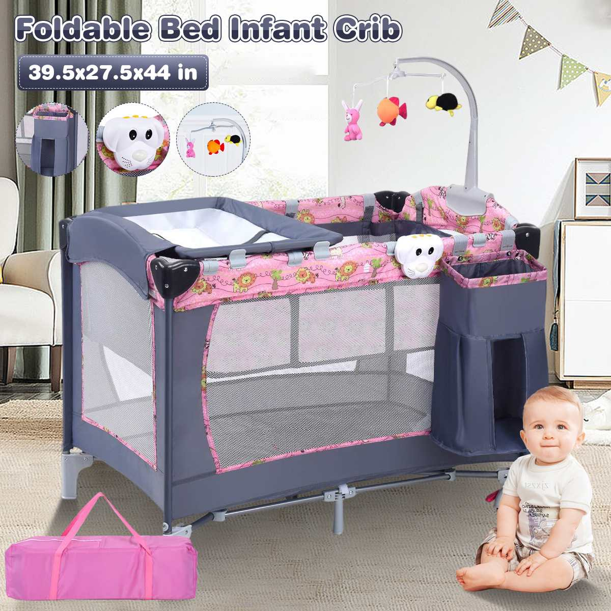39.5x27.5x44 in Baby Playpen Crib Toddler Children's Bed Foldable Travel With Diaper Nursery Table Cradle Rocker Kid Game