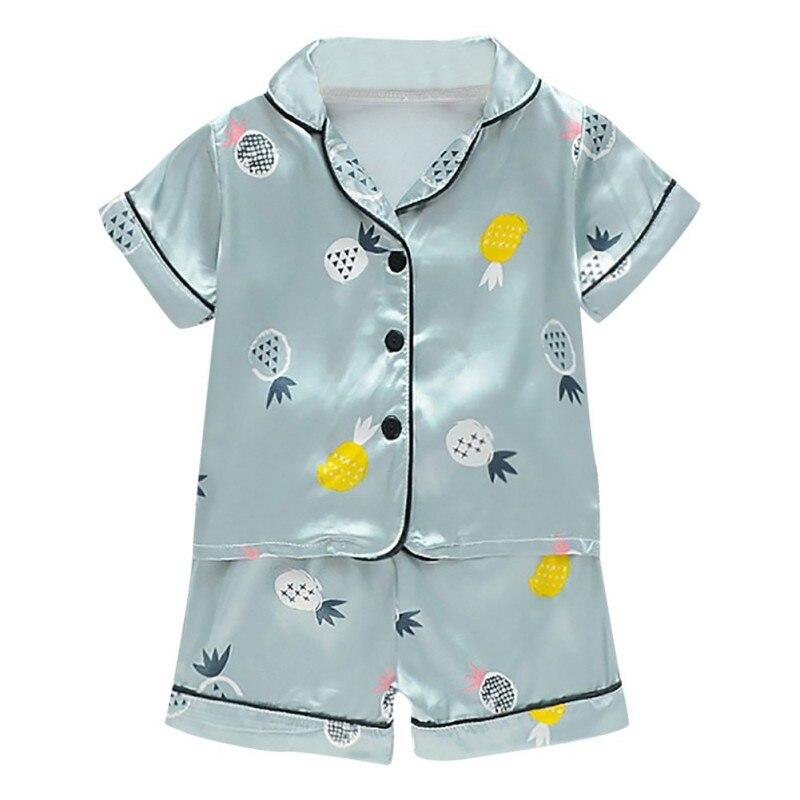 Kids Clothes Baby Pajama Sets for Boys Girls Cartoon Print Short Sleeve Tops+Shorts Sleepwear Pyjamas Kids pijama infantil