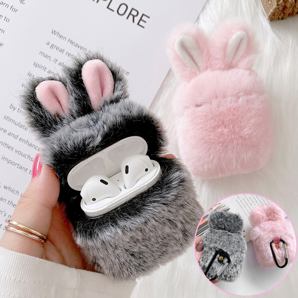 LCHULLE Cute 3D Rabbit Hair Earphone Case for Airpods 1 2 Pro Warm Fluffy Wireless Bluetooth AirPods Cover