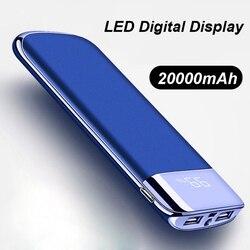 20000mah banco de potência bateria externa poverbank 2 usb led powerbank portátil carregador do telefone móvel para xiao mi iphone 18650