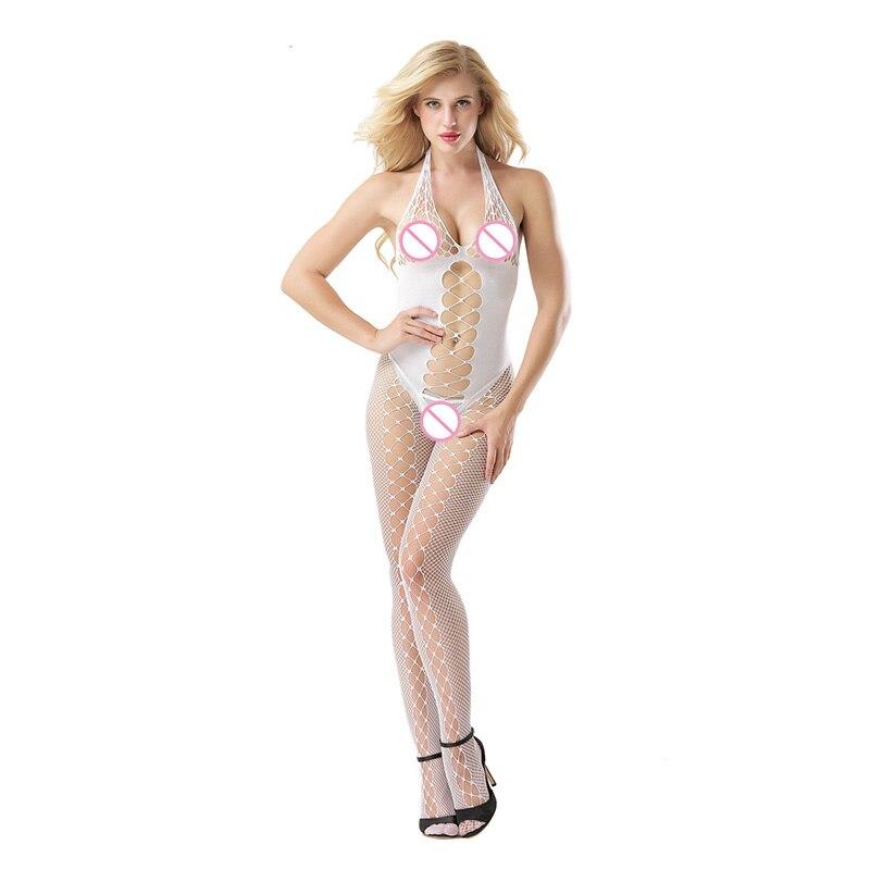 Mujeres sujetador abierto de lencería Sexy caliente medias eróticas de red Halter con huecos V profundo Sexy abierto entrepierna cuerpo medias Sexy Teddy Babydoll