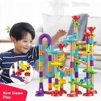 113pcs set diy construction marble run race track building blocks kids 3d maze ball roll toys children christmas gift