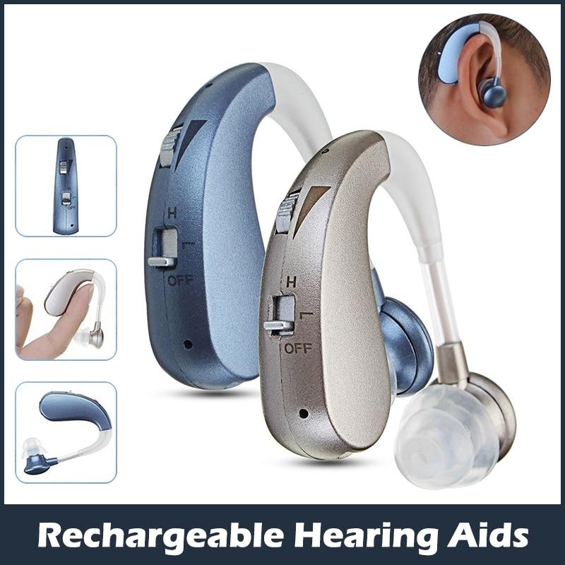 قابلة للشحن أفضل مساعدات للسمع إلغاء الضوضاء مضخم الصوت مكبر صوت لهجة قابل للتعديل لكبار السن الصم/المسنين