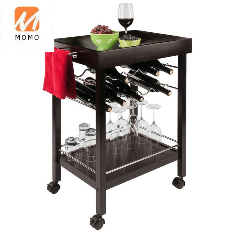 Hot Sale Mid Century Modern Rolling Black Hotel Serving Bar Cart