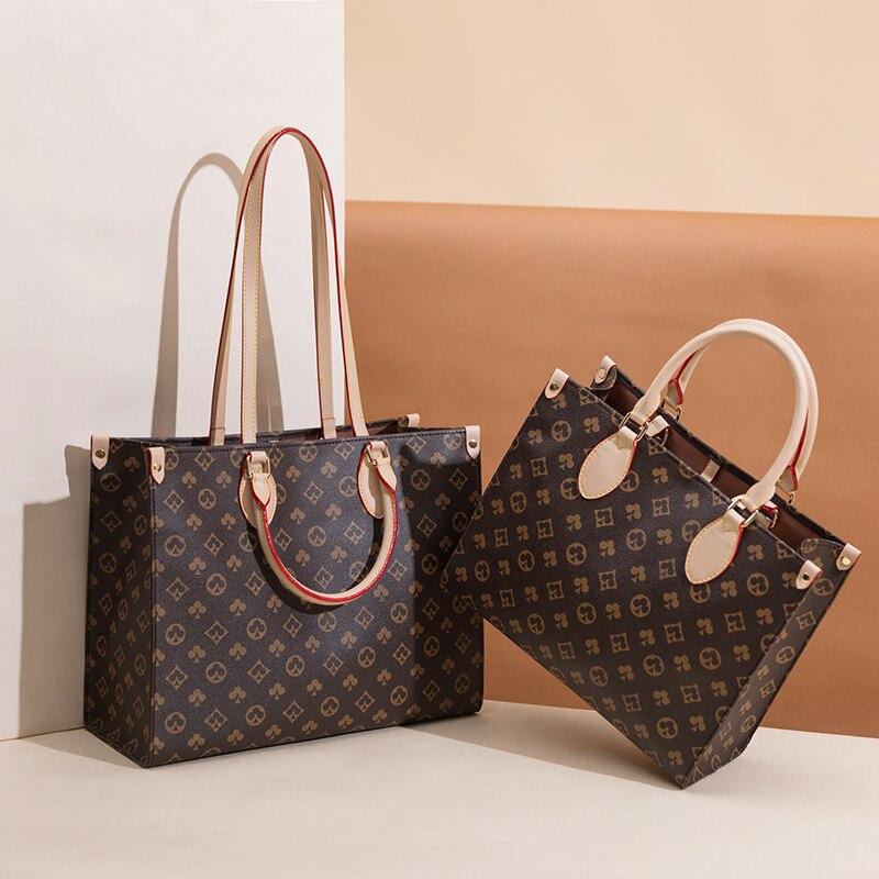 حقيبة يد نسائية من جلد البولي يوريثان ذات سعة كبيرة ، حقيبة كتف ، ماركة فاخرة ، مونوغرام مربع ، حقيبة سفر ، موضة 2021