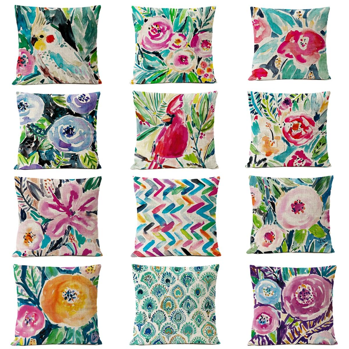 Home Decorative Throw Pillow Nordic Watercolor Floral Bird Pillow Cover Red Flower Cushion Cover sofa Linen Pillowcase