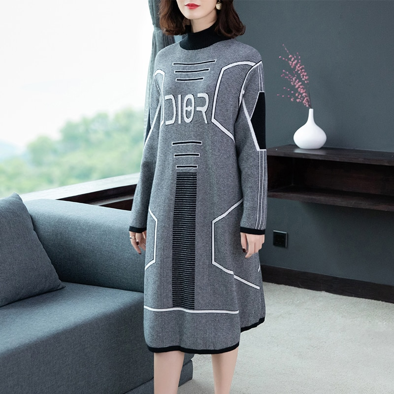 high quality new style, fashion large size women's printed sweater autumn/winter dress