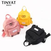 TINYAT Women Mini Backpack Korean Cute Girl Bagpack Daypack Canvas Shoulder Bag For Teenage Girls  Female Ladies School Backpack