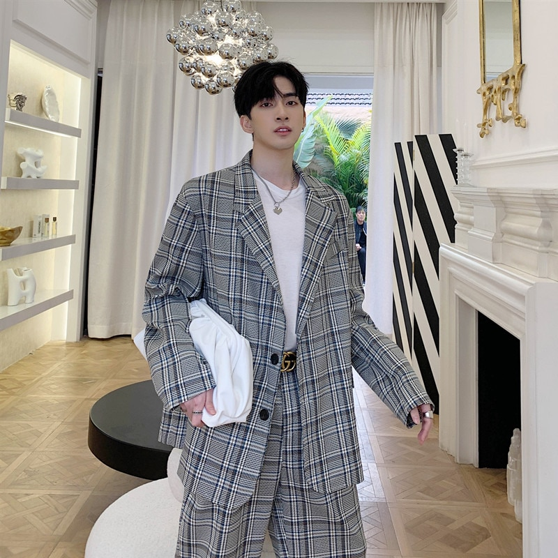 Chaqueta holgada de manga larga para hombre, chaqueta de moda coreana, informal,...