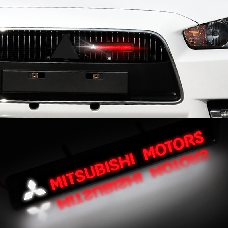 1 piezas ABS capó frontal cromado rejilla LED luz decorativa para Mitsubishis ASX Lancer Pajero Outlander L200 EVO Lancer EX Pajero