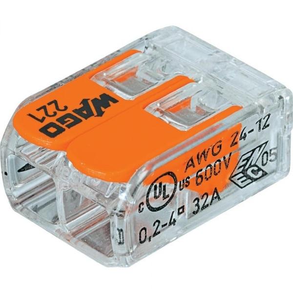 WAGO Клемма с рычагами компактная для 2 х медных(!) одно /многопровол. проводников сеч. до 4 мм кв. 221 412