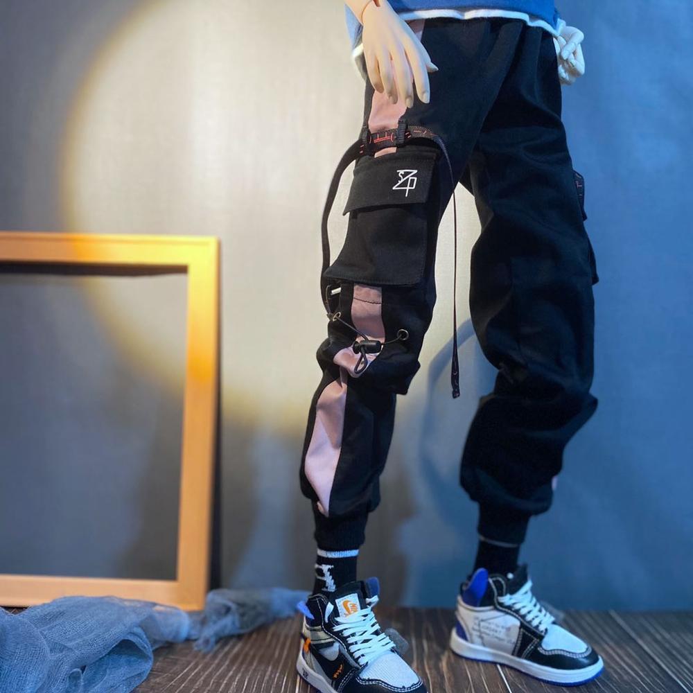 BJD-بدلة دمية بنطلون كارغو أبيض وأسود ، أزياء العم ، رياضة الهيب هوب ، سراويل كبيرة مخططة من الجانب