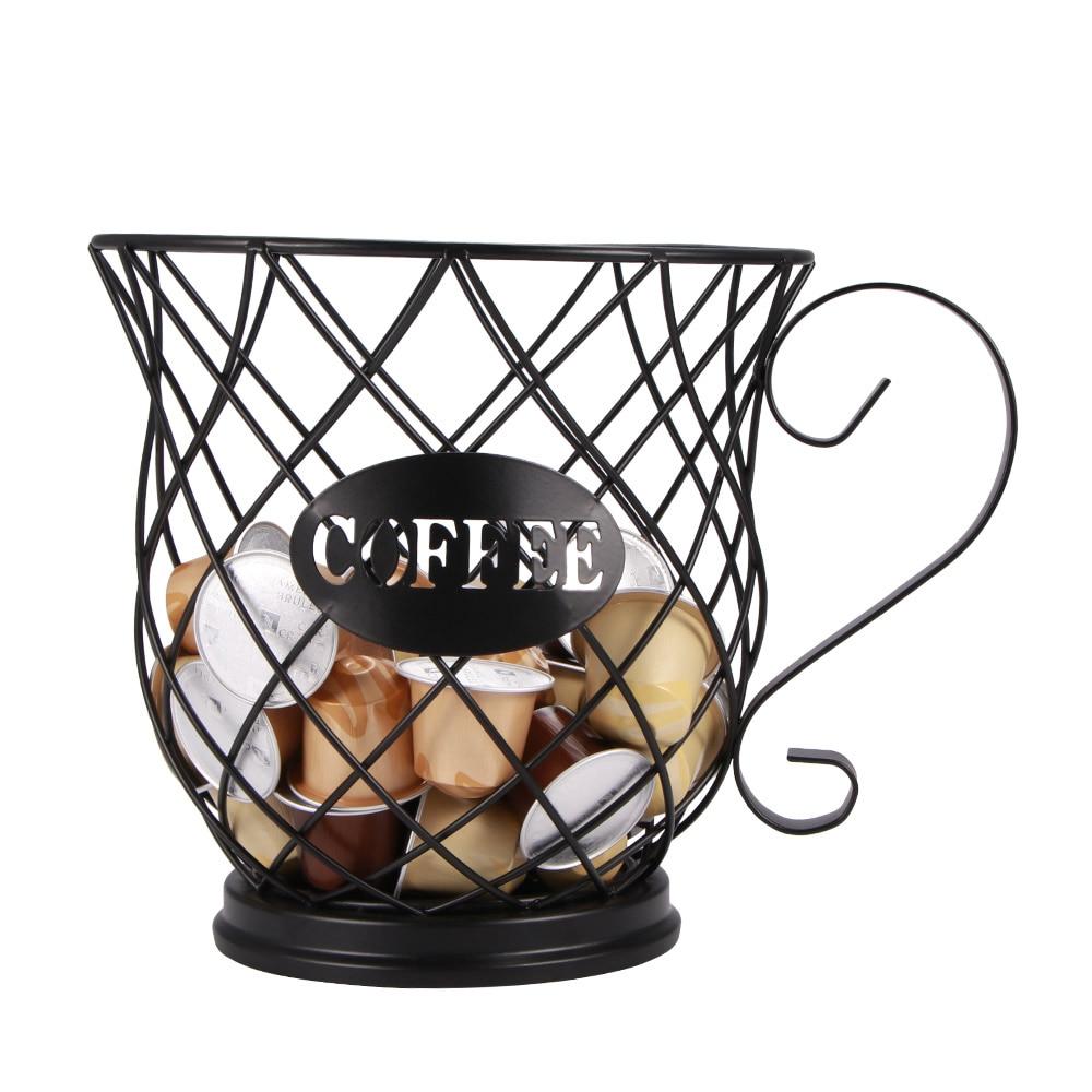 Cesta de almacenamiento Universal para cápsulas de café, soporte organizador de cápsulas de café Vintage, color negro, para casa, café, Hotel