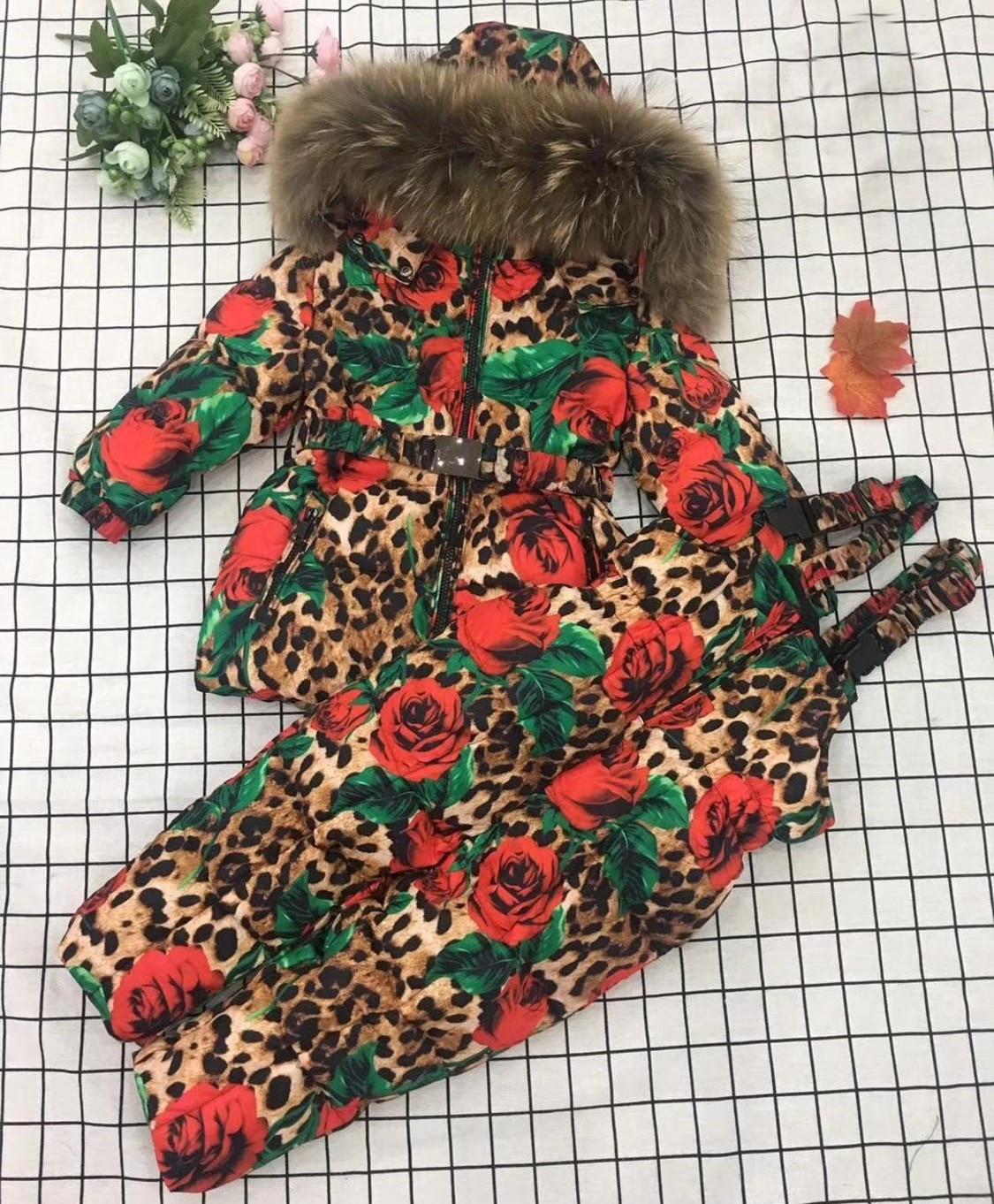 2019 chaqueta de invierno para niños chaquetas y pantalones de plumón de piel de pato con capucha de leopardo flor traje de esquiar para niña conjunto de ropa de abrigo traje de esquí