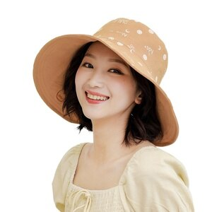 New embroidery double-sided fisherman hat ladies summer big-edge sun hat sun-proof wild bucket hat beach hat  visor hat