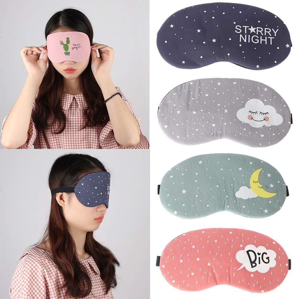 1PC 3D Soft Padded Shading Eye Mask Sleep Eyeshade Cartoon Starry Sky Eye Blindfold Patch Sleeping Aid Accessory Relaxing Tools