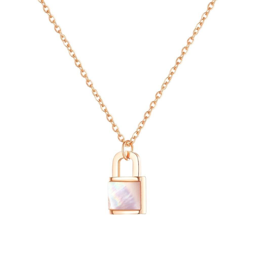 Collar de acero inoxidable para mujer, ostras con perlas, cadena colgante con estilo de bloqueo, regalo de joyería de amor para chica
