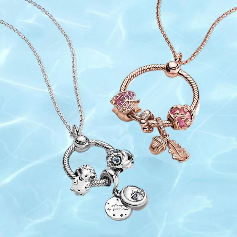 Комплект-кулонов-pandora-женский-из-серебра-925-пробы-ожерелье-средней-длины-с-подвеской-в-виде-листьев-розы-для-подарка-«сделай-сам»