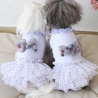 puppy dog fashion cute dot tutu dresses cotton clothes 2021 spring summer new dogs clothes small pet dog skirt outfits chihuahua