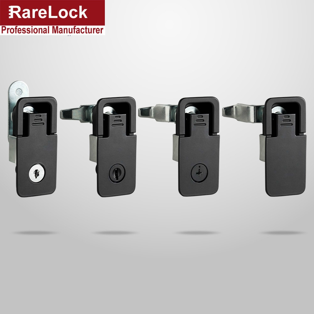 Rarelock Cabinet Handle Door Lock Black Keyless or 2 Key for Machine Fire Box Tool Cabinet Locker Locks LK1003 ff