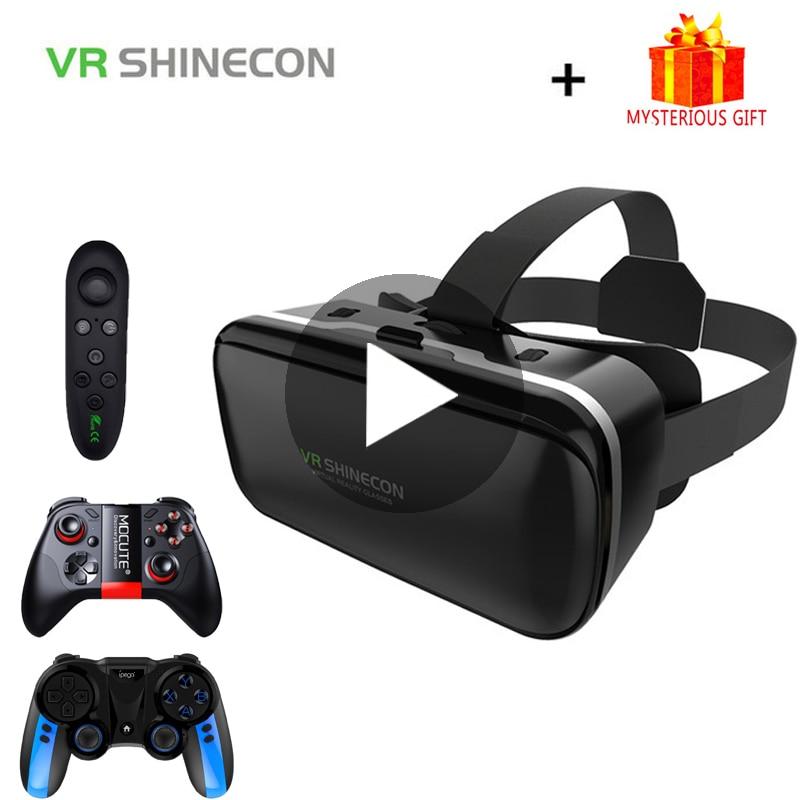 Vr shinecon 6.0 viar casque óculos de realidade virtual 3d fone ouvido capacete para smartphone telefone inteligente vídeo game lentes viar